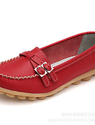 baratos -Mulheres Sapatos Couro Verão Mocassim Mocassins e Slip-Ons Sem Salto para Ao ar livre Verde Tropa / Vermelho / Azul
