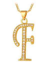 cheap -Men's Cubic Zirconia Pendant Necklace - Alphabet Shape, Letter Fashion Gold, Silver 55 cm Necklace For Gift, Daily