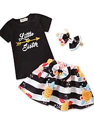 Недорогие -Дети (1-4 лет) Девочки Черное и белое Полоски С короткими рукавами Набор одежды