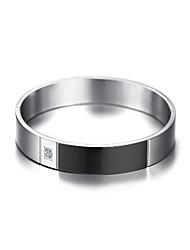 abordables -Zircon Bracelets Rigides - Mode Bracelet Noir / Argent Pour Cadeau / Quotidien