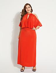 levne -Dámské Větší velikosti Swing Šaty - Jednobarevné Maxi Vysoký pas