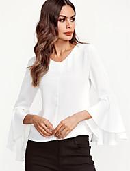 Χαμηλού Κόστους Επικεντρωθείτε στα μανίκια-Γυναικεία Μπλούζα Εξόδου Μπόχο Μονόχρωμο Λαιμόκοψη V