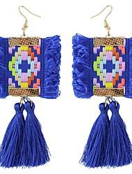 abordables -Femme Boucles d'oreille goutte - Bohème / énorme / Mode Noir / Violet / Bleu Forme Géométrique Des boucles d'oreilles Pour Cérémonie /