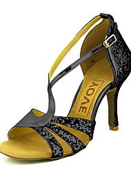 levne -Dámské Boty na latinskoamerické tance / Boty na salsu Třpytky / Koženka Sandály / Podpatky Přezky / Stuha Na zakázku Obyčejné Taneční boty