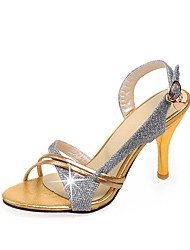 cheap -Women's Shoes Leatherette Summer Slingback Sandals Stiletto Heel Open Toe Buckle Gold / Silver / Wedding / Party & Evening