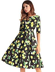 baratos -Mulheres Básico Evasê Vestido - Estampado, Fruta Altura dos Joelhos Limão