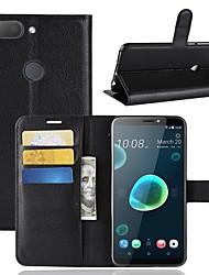 abordables -Coque Pour HTC U11 / HTC Desire 12 Portefeuille / Porte Carte / Clapet Coque Intégrale Couleur Pleine Dur faux cuir pour HTC U11 plus /