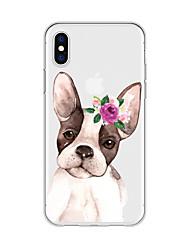 abordables -Coque Pour Apple iPhone X / iPhone 8 Plus Motif Coque Chien / Bande dessinée / Fleur Flexible TPU pour iPhone X / iPhone 8 Plus / iPhone 8