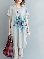 abordables -Mujer Algodón Camiseta Corte Ancho Geométrico