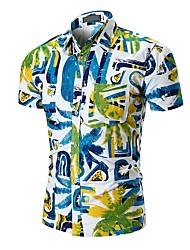 Недорогие -Муж. Рубашка Активный / Классический Контрастных цветов Тропический лист