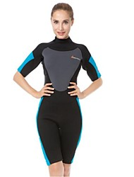 cheap -Women's Shorty Wetsuit 3mm CR Neoprene Diving Suit Anatomic Design Half Sleeve Back Zip Patchwork Summer