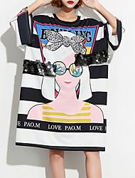 baratos -Mulheres Camiseta Listrado / Retrato Algodão Solto