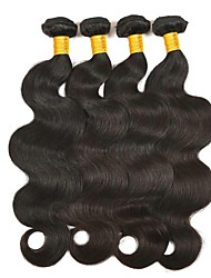 cheap -Mongolian Hair / Body Wave Wavy Natural Color Hair Weaves / Tea Party Favors / Extension 4 Bundles 8-28 inch Human Hair Weaves Machine Made Soft / Best Quality / Hot Sale Natural Black Human Hair
