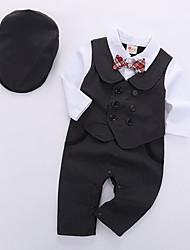 Недорогие -малыш Мальчики Классический Повседневные Однотонный Длинный рукав Обычный Полиэстер Набор одежды Черный / Дети (1-4 лет)