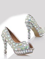 cheap -Women's Shoes Patent Leather Spring & Summer Basic Pump Heels Stiletto Heel Peep Toe Rhinestone for Wedding White