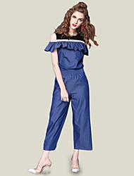abordables -Femme Mignon Chic de Rue Chemise - Couleur Pleine, A Volants Pantalon