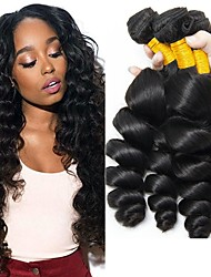 cheap -Gift Bag Indian Hair Wavy Unprocessed Human Hair Natural Color Hair Weaves / Hair Bulk / Human Hair Extensions 8-28 inch Natural Color Human Hair Weaves Capless Best Quality / Hot Sale / For Black