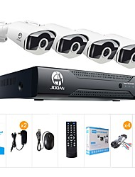 cheap -JOOAN® 8CH 1080N DVR 4x720P Pro HD-TVI Indoor/Outdoor IP66 Waterproof Bullet Cameras with IR Night Vision LEDs Home CCTV Video Surveillance Kits