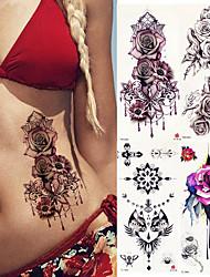 abordables -4 pcs Tatouages Autocollants Tatouages temporaires Séries de fleur Arts du Corps bras