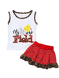 cheap -Kids Girls' Striped Print Leopard Short Sleeve Clothing Set