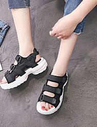 cheap -Women's Shoes Synthetic Microfiber PU Spring & Summer Comfort Sandals Creepers Peep Toe for Casual White Black