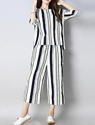 abordables -Femme Chinoiserie Set - Rayé / Couleur Pleine Pantalon