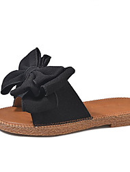 cheap -Women's Shoes PU Summer Comfort Slippers & Flip-Flops Flat Heel Round Toe Bowknot for Black Beige Green