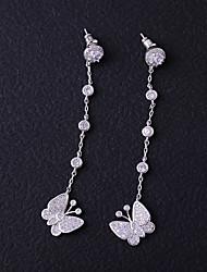 abordables -Femme Zircon Boucles d'oreille goujon Boucles d'oreille goutte - Papillon Adorable, Mode Blanc Pour Mariage Cadeau