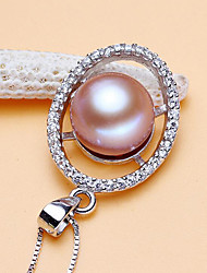 cheap -Women's Cubic Zirconia Pendant Necklace  -  Silver Plated, Gold Plated, Freshwater Pearl Simple, Fashion, Elegant White, Purple, Pink 38 cm Necklace For Party, Gift