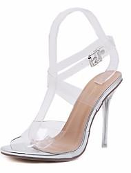 preiswerte -Damen Schuhe PU Sommer Pumps Sandalen Stöckelabsatz Peep Toe Schnalle Silber