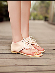 cheap -Women's Shoes PU(Polyurethane) Summer Comfort / Novelty Sandals Flat Heel Cap-Toe Buckle White / Black / Pink / Lace up