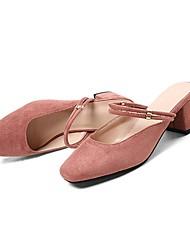abordables -Femme Chaussures Daim Eté Confort Sabot & Mules Talon Bottier Noir / Beige / Rose