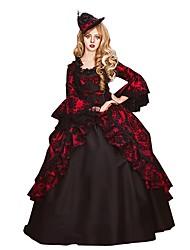 abordables -Rococo / Victorien Costume Femme / Adulte Robes Noir / Rouge Vintage Cosplay Floqué Manches 3/4 Manches Evasées