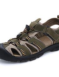 cheap -Men's Leather Summer Comfort Sandals Army Green / Light Brown / Dark Brown