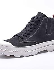 Недорогие -Муж. обувь Кожа Весна Удобная обувь Кеды для на открытом воздухе Черный Серый