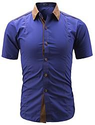 cheap -Men's Plus Size Cotton / Polyester Shirt - Color Block Classic Collar / Short Sleeve