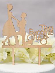 baratos -Decorações de Bolo Tema Clássico / Casamento Com Corte Madeira / Bambu Casamento / Aniversário com Saiu ao lado 1pcs PPO