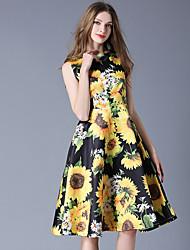 baratos -Mulheres Vintage / Boho Evasê Vestido - Franzido / Franjas / Estampado, Floral / Geométrica Altura dos Joelhos Folha tropical