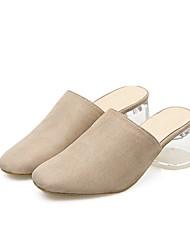 Недорогие -Жен. Обувь Полиуретан Лето Удобная обувь Башмаки и босоножки На толстом каблуке Круглый носок Черный / Миндальный