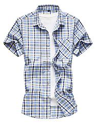 baratos -Homens Camisa Social Básico Quadriculada