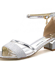 cheap -Women's Shoes PU Summer Comfort Sandals Low Heel Round Toe Rhinestone for Outdoor Gold / Silver