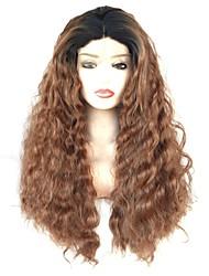 Недорогие -Синтетические кружевные передние парики Волнистый Средняя часть 150% Человека Плотность волос Искусственные волосы Мягкость / Женский / синтетический Темно-коричневый Парик Жен. Длинные Лента спереди