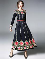 abordables -Mujer Vintage / Chic de Calle Corte Swing Vestido - Estampado, Floral Maxi