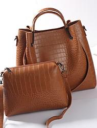 baratos -Mulheres Bolsas PU Conjuntos de saco 2 Pcs Purse Set Ziper Crocodilo Preto / Cinzento Escuro / Marron
