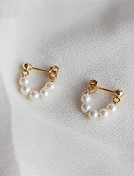 cheap -Women's Stud Earrings / Hoop Earrings - S925 Sterling Silver, Freshwater Pearl European, Fashion Gold For Daily / Formal