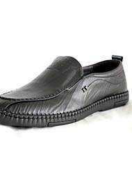 abordables -Hombre Zapatos formales Cuero de Napa Primavera / Otoño Zapatos de taco bajo y Slip-On Negro