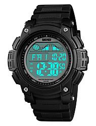 Недорогие -SKMEI Муж. электронные часы Японский Цифровой Стеганная ПУ кожа Черный 50 m Защита от влаги Будильник Календарь Цифровой На каждый день Мода - Оранжевый Зеленый Синий Один год Срок службы батареи