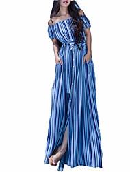 economico -Per donna Moda città Swing Vestito A strisce Maxi