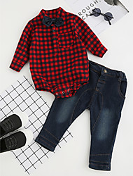 cheap -Boys' Party Daily Formal Plaid Clothing Set, Cotton Winter Spring Fall Long Sleeves Dresswear Check Bow Red