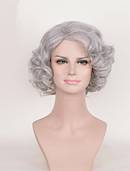 cheap -Human Hair Lace Wig Curly Asymmetrical Haircut Synthetic Hair Cosplay Gray Wig Women's Short Capless